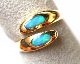 SEA GREEN  OPAL INLAY 18K GOLD RING SIZE 7.5 SCO1136