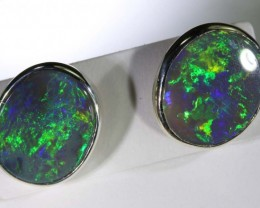 7.30 CTS BLACK OPAL SILVER  EARRINGS OF-1351