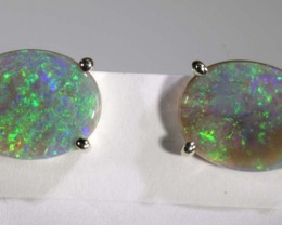 7.90 CTS BLACK OPAL SILVER  EARRINGS OF-1352