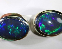 28.25 CTS BLACK OPAL SILVER  EARRINGS OF-1353