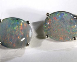9.60 CTS BLACK OPAL SILVER  EARRINGS OF-1354