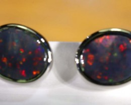21.35 CTS BLACK OPAL SILVER  EARRINGS OF-1356