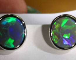 16.25 CTSSOLID  BLACK OPAL SILVER  EARRINGS OF-1357