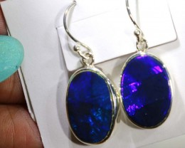 18.80 CTS BLACK OPAL SILVER  EARRINGS OF-1358
