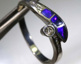 15.35 CTS DOUBLET OPAL SILVER RING OF-1361