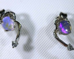 3.9 CTS BLACK OPAL SILVER  EARRINGS OF-1379
