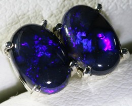 Gorgeous dark blue effect Black opal earrings BU1705