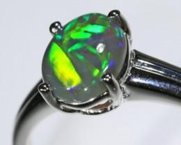 Black opal 18k White Gold Ring size7.5 BU1486