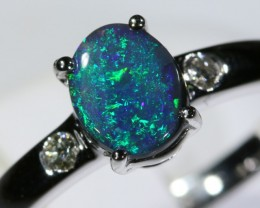 Black opal 18k White Gold Ring size7.5 BU1490