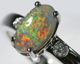Black opal 18k White Gold Ring size7.5  BU1492