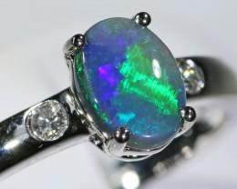 Black opal 18k White Gold Ring size7.5 BU1493