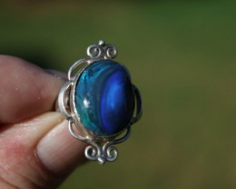 Beautiful Lightning Ridge Solid Black Opal Ring