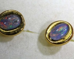 8.60 CTS TRIPLET OPAL GOLD plated EARRINGS OF-1427