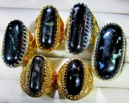 INDONESIAN BLACK OPAL RINGS -DEALERS PARCEL [VS7190]