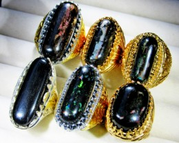 INDONESIAN BLACK OPAL RINGS -DEALERS PARCEL[7193]