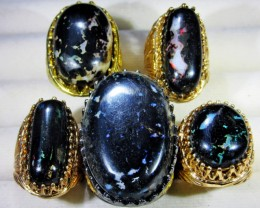 INDONESIAN BLACK OPAL RINGS -DEALERS PARCEL[7195]