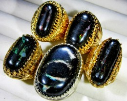 INDONESIAN BLACK OPAL RINGS -DEALERS PARCEL[VS7197]