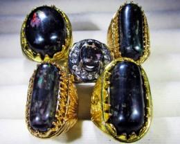 INDONESIAN BLACK OPAL RINGS -DEALERS PARCEL[VS7198]