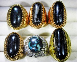 INDONESIAN BLACK OPAL RINGS -DEALERS PARCEL[VS7199]