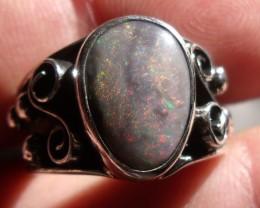 Bezel set Natural Solid opal gem taxco silver ring sz 6.0
