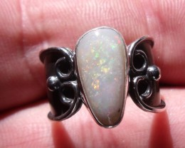 Bezel set Natural Solid opal gem taxco silver ring sz 6.0