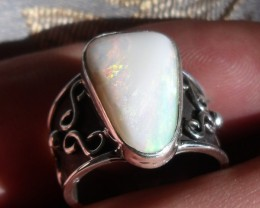 Bezel set Natural Solid opal gem taxco silver ring sz 6.75