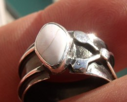 Bezel set Natural Solid opal gem taxco silver ring sz 5.5