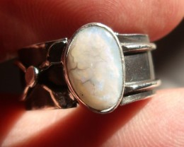 Bezel set Natural Solid opal gem taxco silver ring sz 7.0