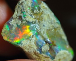 10.27Ct Bright Colorful Ethiopian Welo Solid Opal Specimen Rough