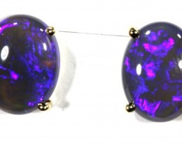 10.95 CTS BLACK OPAL EARRINGS 9 K GOLD INV-297 gc