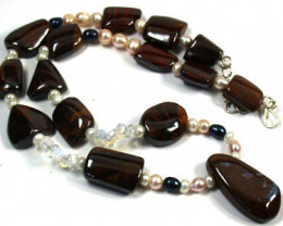 OPAL AND GEMSTONE BEAD NECKLACE 670 CTS EM 568
