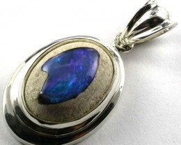 LARGE OPAL  INLAY STYLISH SILVER PENDANT  GTJA442