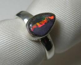 Genuine Australian Boulder Opal 925 Silver Ring Size7.5 #R67