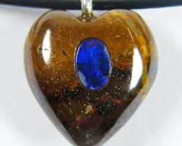 CUTE HEART SHAPE OPAL INLAY PENDANT NECKLACE GTJA 547