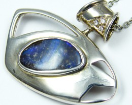 SOLID BOULDER   OPAL SILVER PENDANT  MYJA 1016