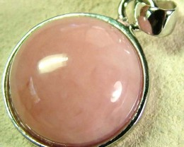 PINK OPAL SILVER  PENDANT-NATURAL -CAB  9.85 CTS [SJ604]