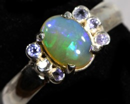 8.5 SIZE  SOLID OPAL AND 6 TANZANITES -FACTORY [SJ3124 ]