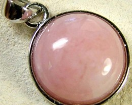 PINK OPAL SILVER  PENDANT-NATURAL -CAB  9.00 CTS [SJ607]