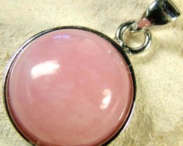 PINK OPAL SILVER  PENDANT-NATURAL -CAB 8.55 CTS [SJ613]