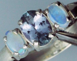 9 RING SIZE TANZANITE AND OPAL RING [SO3150J ]