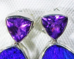 AMETHYST AND OPAL EARRINGS -FACTORY DIRECT [SJ3024]