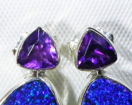 AMETHYST AND OPAL EARRINGS -FACTORY DIRECT [SJ3026]