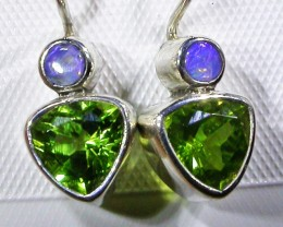 PERIDOT + SOLID OPAL EARRINGS -FACTORY DIRECT [SJ3036]