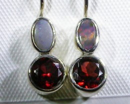 GARNET AND  SOLID OPAL EARRINGS-FACTORY DIRECT [SJ3053]