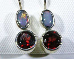 GARNET AND  SOLID OPAL EARRINGS-FACTORY DIRECT [SJ3054]