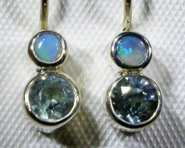 TOPAZ AND  SOLID OPAL EARRINGS -FACORY DIRECT [SJ3061]