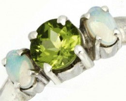 9 SIZE PERIDOT SILVER  RING+ OPALS -FACTORY DIRECT [SJ4008 ]