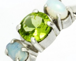 9 SIZE PERIDOT SILVER  RING+ OPALS -FACTORY DIRECT [SJ4009 ]