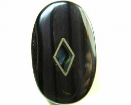 MOTHER PEARL INLAID  IRONSTONE BEAD  31.7CTS AG1970