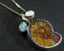 AMMONITE ,SHELL OPAL  STERLING SILVER PENDANT     MYT696